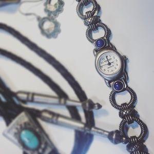 Peyote BirdSterling silver and lapis lazuli watch